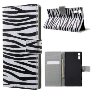Patterned Leather Wallet Stand Case for Sony Xperia XZ - Zebra Grain