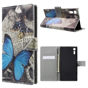 Patterned Leder Wallet Stand Cover für Sony Xperia XZs / XZ - Blue Butterfly