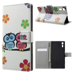 Patterned Leather Wallet Stand Shell for Sony Xperia XZ - Owl Couple