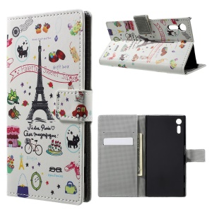 Pattern Printing Leather Wallet Stand Cover for Sony Xperia XZ - Eiffel Tower