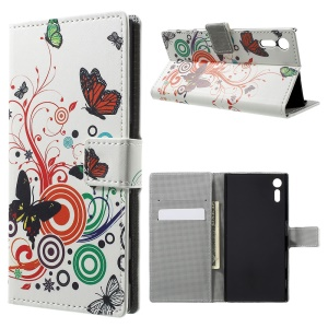 Pattern Printing Leather Wallet Stand Shell for Sony Xperia XZ - Butterfly and Circle
