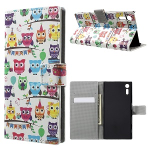 Pattern Printing Leather Wallet Phone Cover for Sony Xperia XZ - Adorable Owls