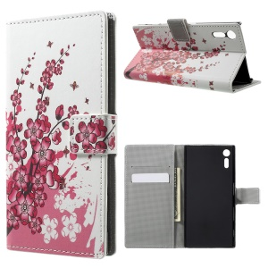 Pattern Printing Leather Wallet Phone Shell for Sony Xperia XZ - Plum Blossom
