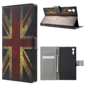 Patterned Leather Wallet Stand Protective Case for Sony Xperia XZ - Vintage UK Flag