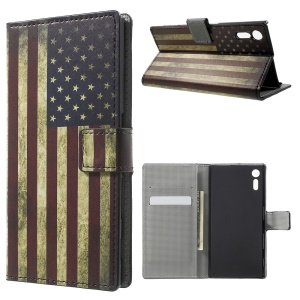 Patterned Leather Wallet Stand Protective Cover for Sony Xperia XZ - Retro American Flag