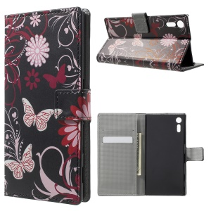 For Sony Xperia XZ Patterned Leather Wallet Stand Case - Flowers and Butterflies
