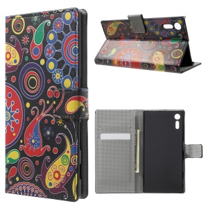For Sony Xperia XZ Patterned Leather Wallet Stand Cover - Paisley Pattern