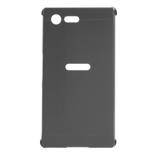Brushed Plastic + Aluminum Alloy Frame Hard Case for Sony Xperia X Compact - Black