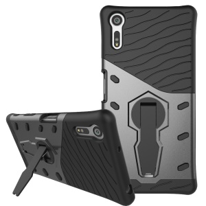Armor PC + TPU Hybrid Kickstand Cover for Sony Xperia XZ - Grey