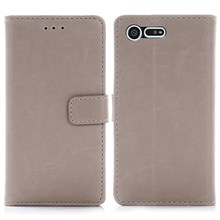 Crazy Horse Leather Wallet Cover for Sony Xperia X Compact - Grey