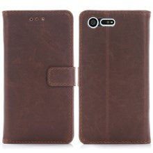 Crazy Horse Leather Wallet Case Cover for Sony Xperia X Compact - Coffee