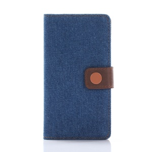 Jeans Cloth Leather Wallet Cover for Sony Xperia X Compact - Dark Blue