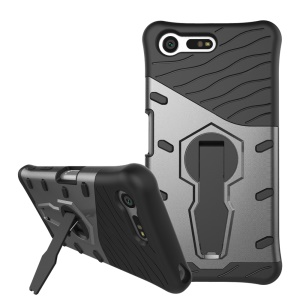 Armor PC + TPU Hybrid Kickstand Cover for Sony Xperia X Compact - Grey
