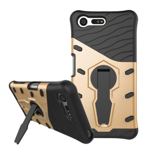Armor Hybrid PC TPU Kickstand Phone Case for Sony Xperia X Compact - Gold