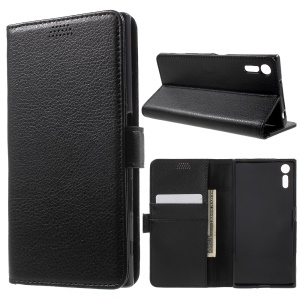 Litchi Skin Leather Wallet Case for Sony Xperia XZs / XZ - Black