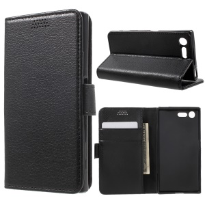 Lychee Skin Leather Wallet Case for Sony Xperia X Compact - Black