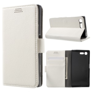 Lychee Skin Leather Wallet Cover for Sony Xperia X Compact - White