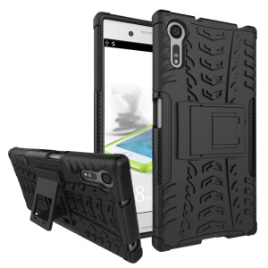 Anti-slip PC + TPU Hybrid Case with Kickstand for Sony Xperia XZ - Black