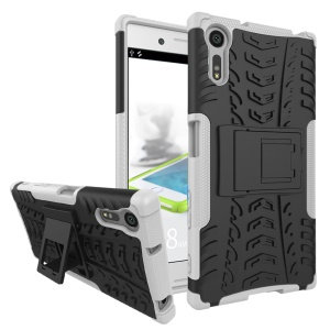 Anti-slip PC + TPU Hybrid Shell with Kickstand for Sony Xperia XZs / XZ - White