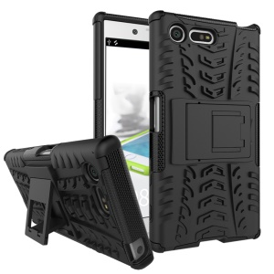 Anti-slip PC + TPU Hybrid Case with Kickstand for Sony Xperia X Compact - Black