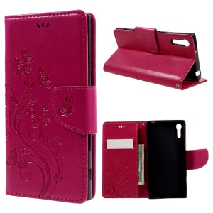 Imprint Floral Butterfly Leather Wallet Case for Sony Xperia XZs / XZ with Lanyard - Rose