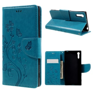 Imprint Floral Butterfly Leather Mganteic Case for Sony Xperia XZs / XZ with Lanyard - Blue