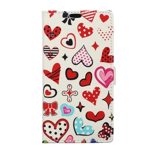 Flip Leather Wallet Cover for Sony Xperia X Compact - Hearts and Polka Dots