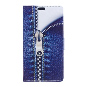Leather Card Holder Stand Case for Sony Xperia X Compact - Jeans Metal Zipper