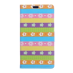 Protective Leather Wallet Cover for Sony Xperia X Compact - Colored Stripes Flowers