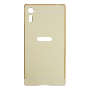 Sliding Metal Frame Electroplating PC Back Phone Case Cover for Sony Xperia XZs / XZ - Gold