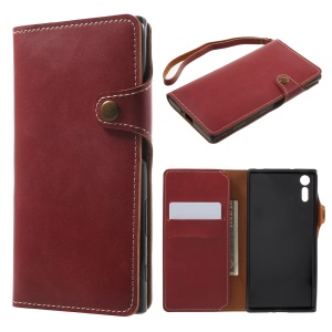 Wallet Leather Mobile Phone Case Accessory for Sony Xperia XZs / XZ - Red