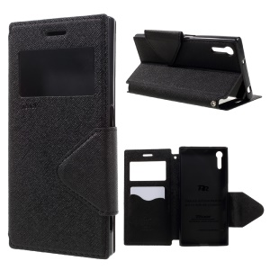 ROAR KOREA Diary View Leather Stand Card Slot Case for Sony Xperia XZ - Black