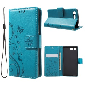 Imprint Butterfly & Flower Leather Wallet Flip Shell for Sony Xperia X Compact - Baby Blue