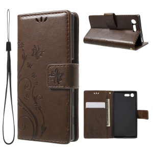 Imprint Leather Card Holder Stand Cover for Sony Xperia X Compact - Brown