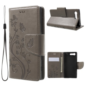 Imprinted Butterfly Flora Leather Wallet Cover for Sony Xperia X Compact - Grey