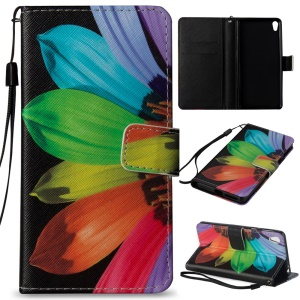 Pattern Printing Leather Wallet Stand Case for Sony Xperia E5 - Colored Flower Petal