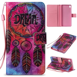 Patterned Wallet Stand Leather Phone Cover for Sony Xperia E5 - Tribal Dream Catcher
