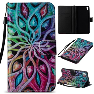 Illustration Leather Wallet Stand Case for Sony Xperia E5 - Unique Colorful Pattern