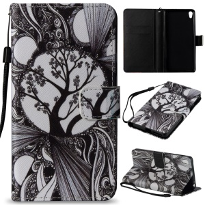 Pattern Printing Wallet Leather Stand Cover for Sony Xperia E5 - Abstract Tree