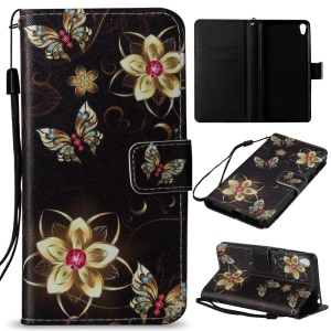 Wallet Stand Leather Patterned Cell Phone Case for Sony Xperia E5 - Flowers and Butterflies