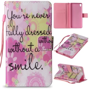 Pattern Printing Stand Leather Wallet Shell Accessory for Sony Xperia E5 - Flower and Quote
