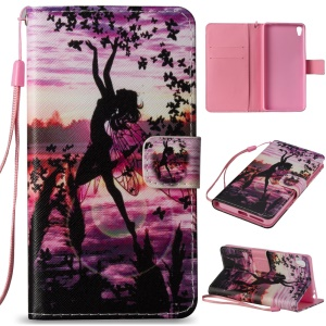 Illustration Folio Leather Wallet Stand Case for Sony Xperia E5 - Butterfly Fairy