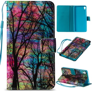 Wallet Stand Leather Mobile Phone Cover for Sony Xperia E5 - Trees