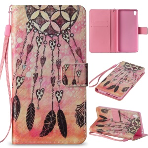 Flip Leather Wallet Stand Patterned Shell for Sony Xperia E5 - Heart Windbell
