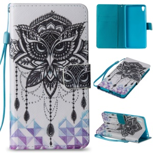 Notebook Style Leather Wallet Stand Case for Sony Xperia E5 - Owl and Crystal Decor