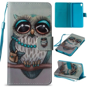Diary Style Leather Wallet Stand Phone Casing for Sony Xperia E5 - Cute Owl