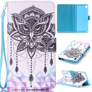 Patterned Leather Wallet Case with Lanyard for Sony Xperia XA / XA Dual - Owl and Crystal Decor