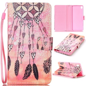 Patterned Leather Wallet Cover with Wrist Strap for Sony Xperia XA / XA Dual - Dream Catcher