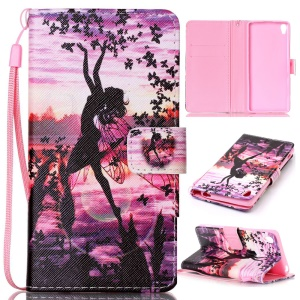 Patterned Leather Wallet Flip Case with Hand Strap for Sony Xperia XA / XA Dual -