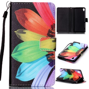 Patterned Leather Wallet Shell with Lanyard for Sony Xperia XA / XA Dual - Colorful Daisy